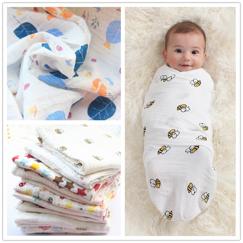 Newborn Baby Wrapping Blanket Cotton Gauze Thin Bathing Wash Towel Spring Summer