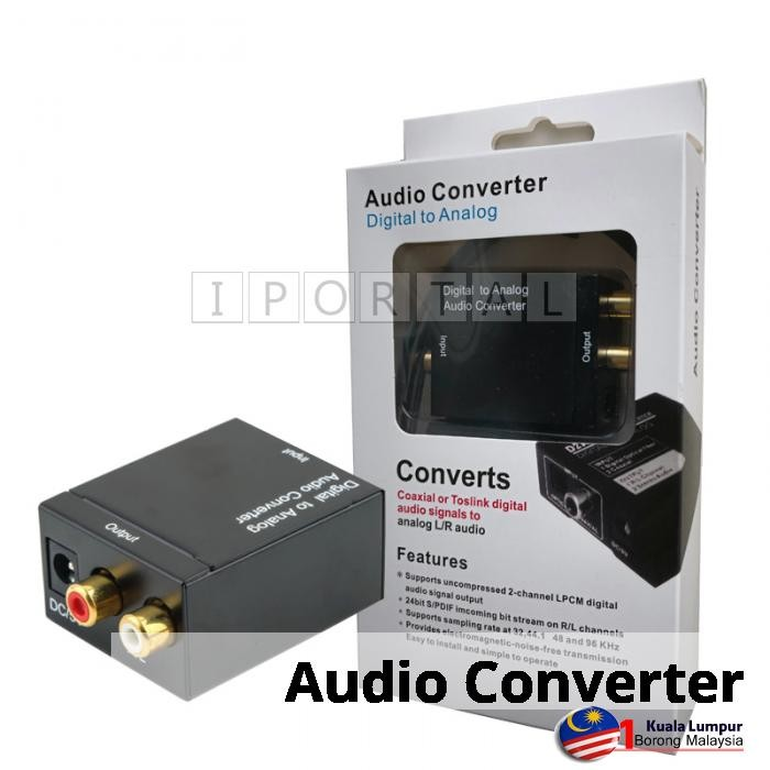 Digital Optical Coaxial Toslink Signal to Analog Audio Converter Adapter RCA L/R | Shopee Malaysia