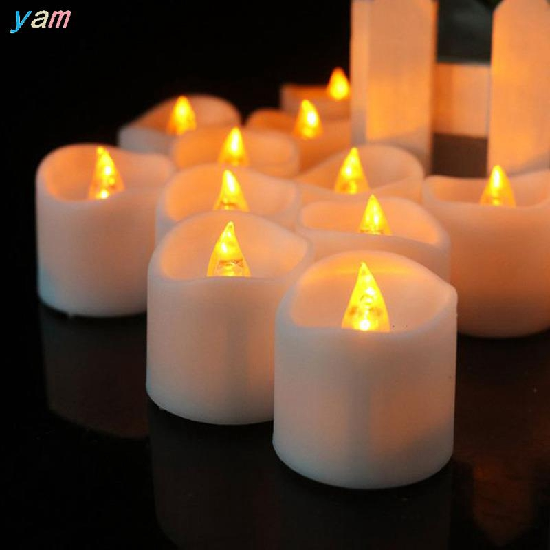 Real Romantic Smokeless Flickering Tea Light Candle Lamp With Battery Included