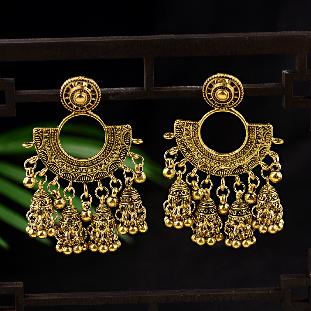 Ethnic Fashion Women Sector Gold Jhumka Earrings Indian Jewelry