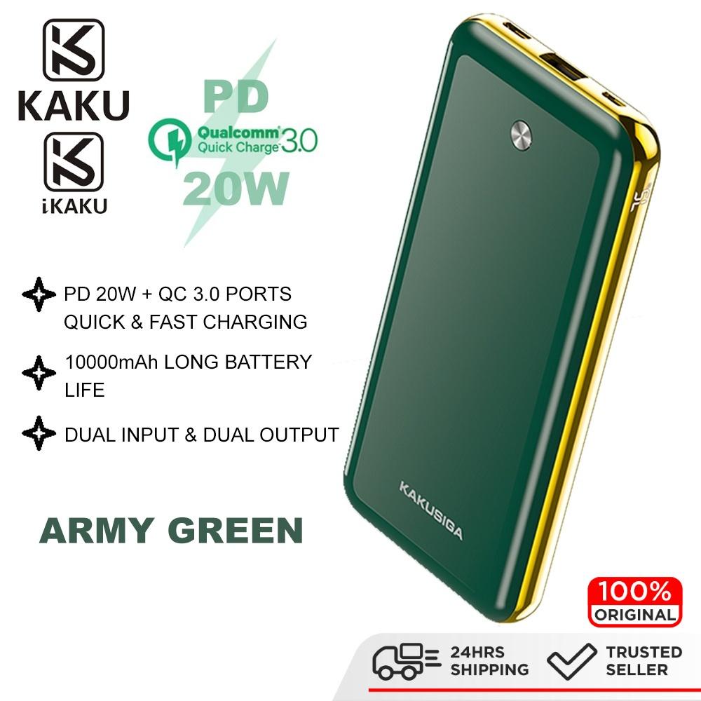 IKAKU KAKU ZHIHENG QC 3.0 PD 20W Powerbank 10000mAh Type C USB A Output Super Fast Charge Power Bank Smartphone Tablet