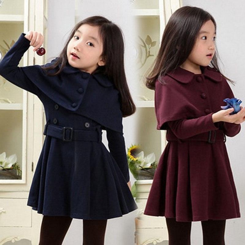Overcoat Dress Kids Girls Long sleeve Wool Blends 2pcs Brand new Stylish