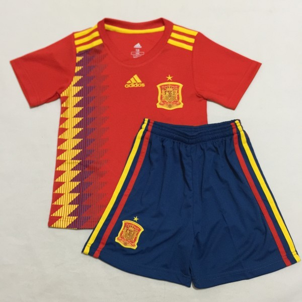 more photos faeed 095a6 2018 World Cup Spain National Team Home Away Kids Soccer Jersey Fashion Kit