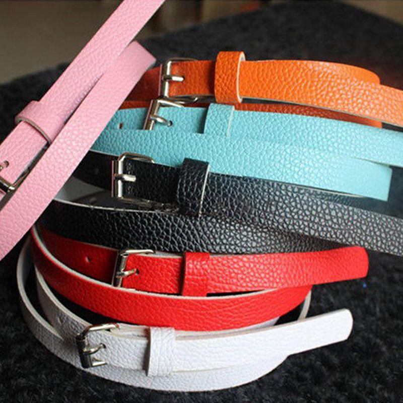 4e92bbfab Women's Solid Candy Color Skinny Faux Leather Belts | Shopee Malaysia