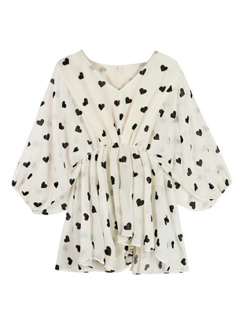 [S~XL]V-neck sleeves sweet chiffon shirt 七分袖小衫女新款洋气v领衬衫仙气雪纺衫女夏季短袖甜美上衣