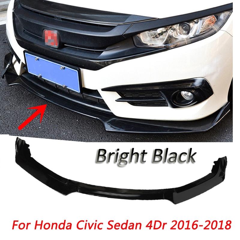 GENUINE BLACK REAR UNDER LIP SPLITTER SPOILER FOR HONDA CIVIC SEDAN 2016-2019