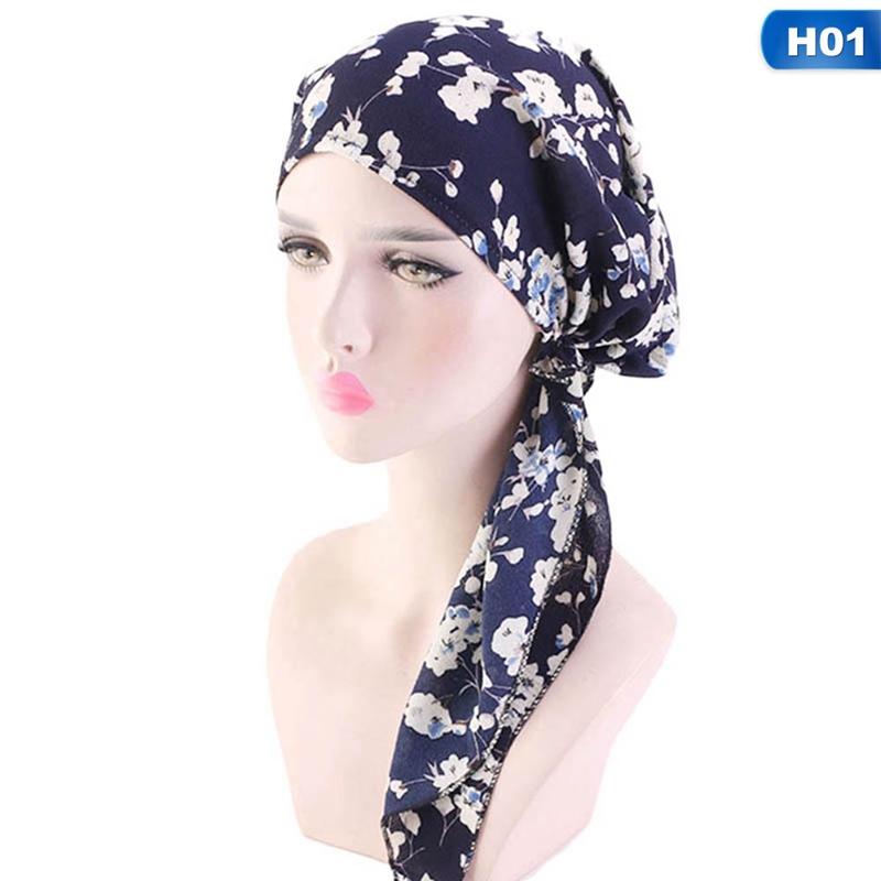Headwear Black Floral Pattern Sweatband Elastic Turban Sport Headband Outdoor Head Wrap