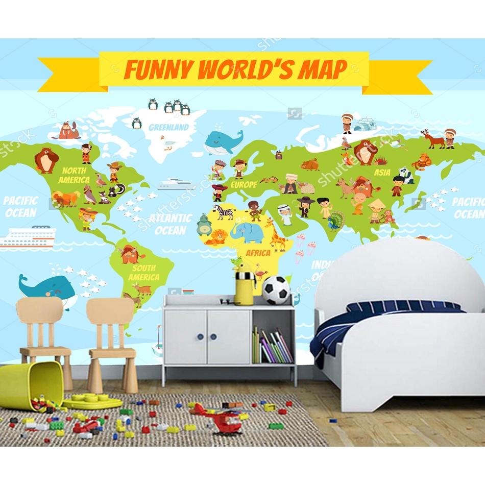 Cartoon world map children wallpaper,living room tv wall kids\'room cafe  mural