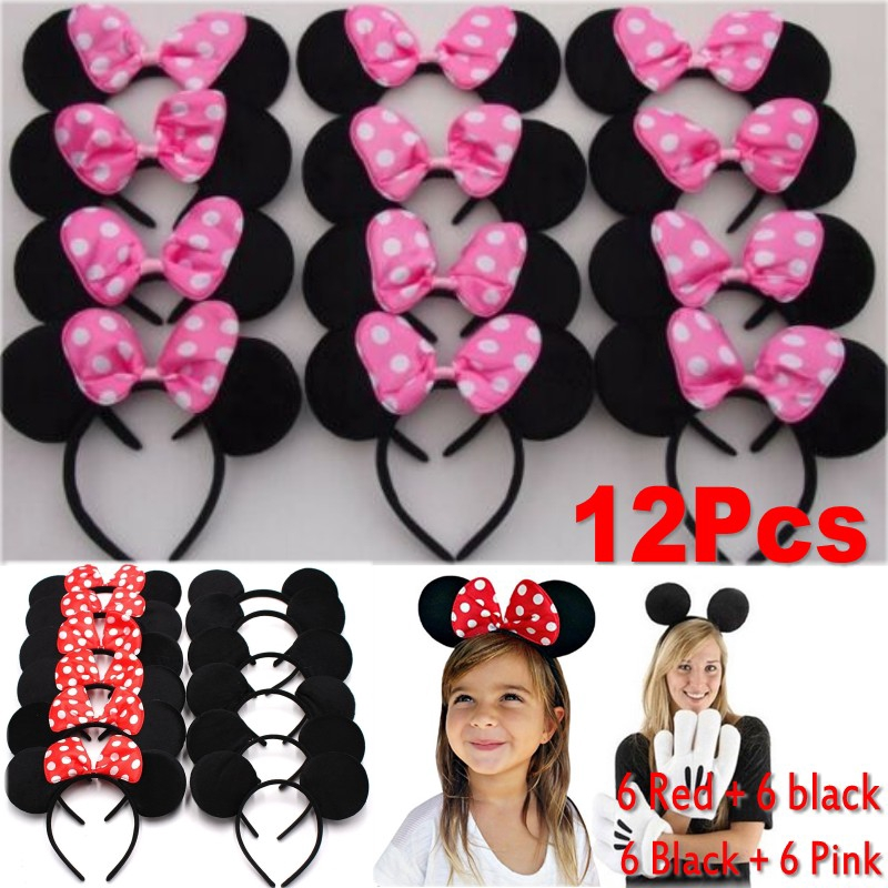 Minnie Mickey Mouse Ears Headbands 24pcs Black Pink Bow Party Favors Birthday