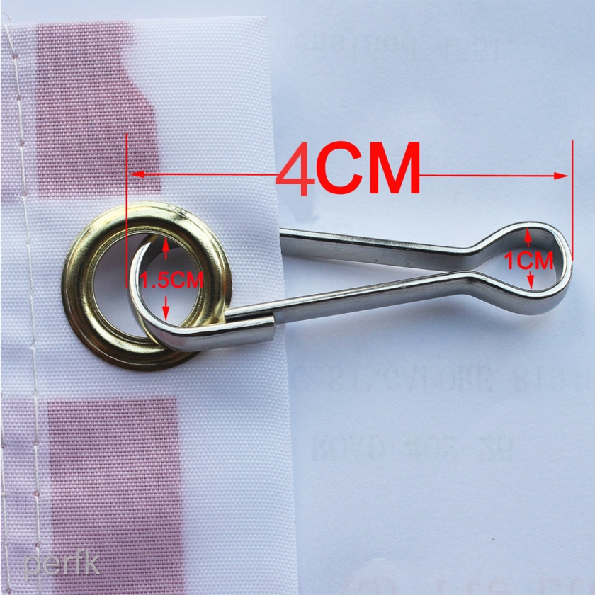 4pcs Stainless Steel Spring Clip Flag Clips Hook Flagpole Attachment 4cm
