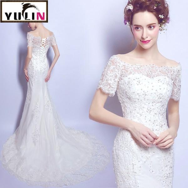 0d6d302d2 Elegant Slim Fit Mermaid Lace Embroidery Off Shoulder Wedding Dress Bridal  Gowns