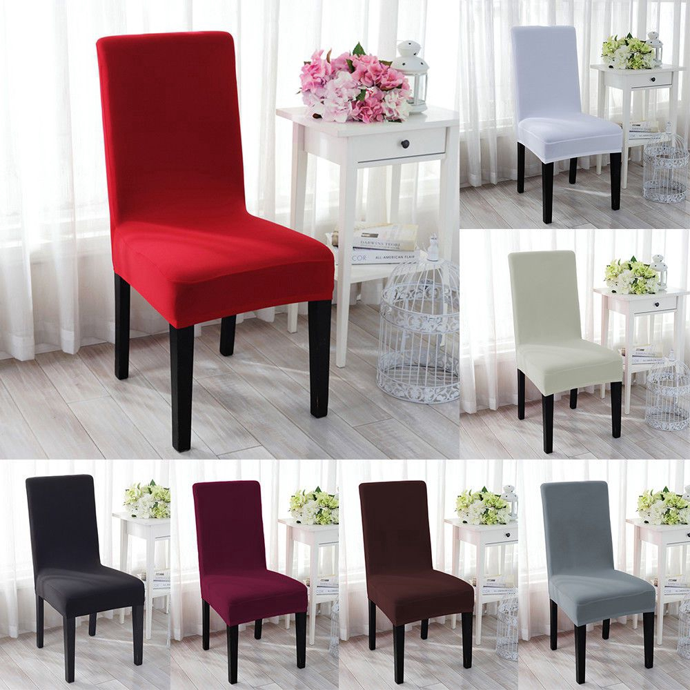 Pure Color Chair Covers Stretch Spandex Dining Room Chair Seat Cover For Wedding Banquet Party Shopee Malaysia