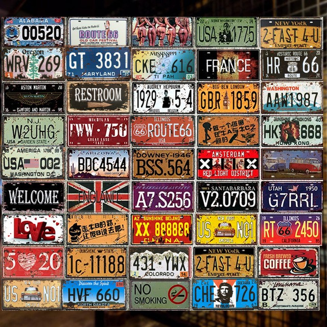 Ready Stock 15x30cm No 021 040 Design Metal Sign Car Number Plates Vintage Art Tin Plate Wall Deco For Home Cafe Bar
