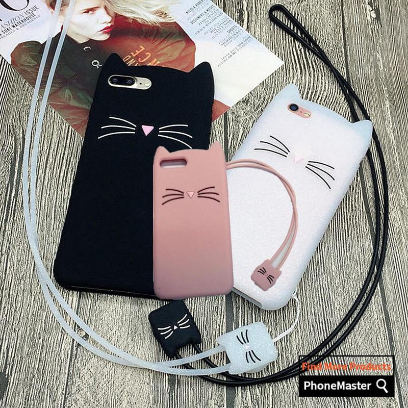 cfdffe7296 Samsung Galaxy J1 Mini Prime Cover Lovely Cartoon Beard Cat Lanyard Soft  Case