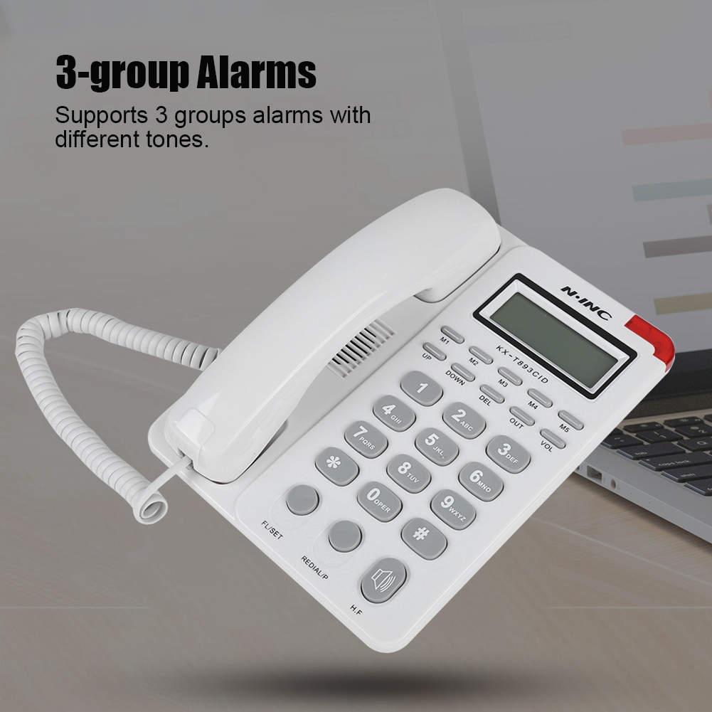 Huida 5-group Speed Dial Desktop Corded Telephone LCD Display Corded