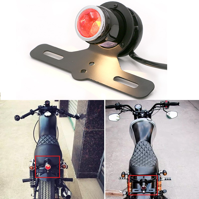 Motorcycle Classic Style 12V Black Round Custom Tail Brake Light and Bracket