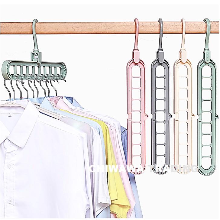 High Quality 9 Hole Magic Clothes Hanger Space Saving Cloth Drying Rack Storage Racks Penyangkut Baju Rak