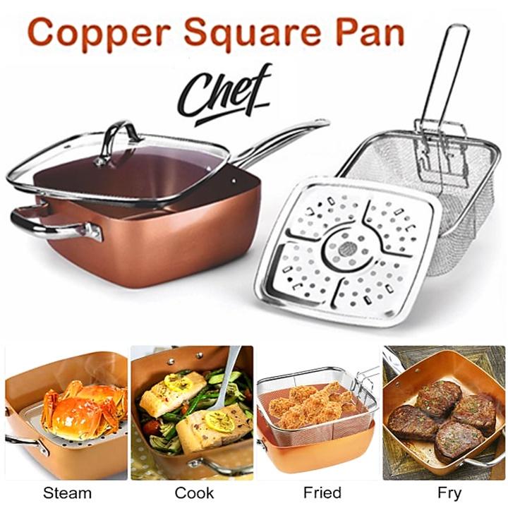 5 Pcs Set Non Stick Copper Ceramic Casserole Square Deep Frying Pan Cooking Pot Wok Basket Steamer Cookware + Glass Lid