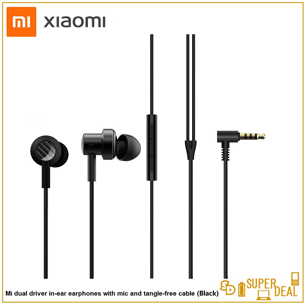 Mi Dual Driver in-Ear Earphones with Mic and Tangle-Free Cable (Black)