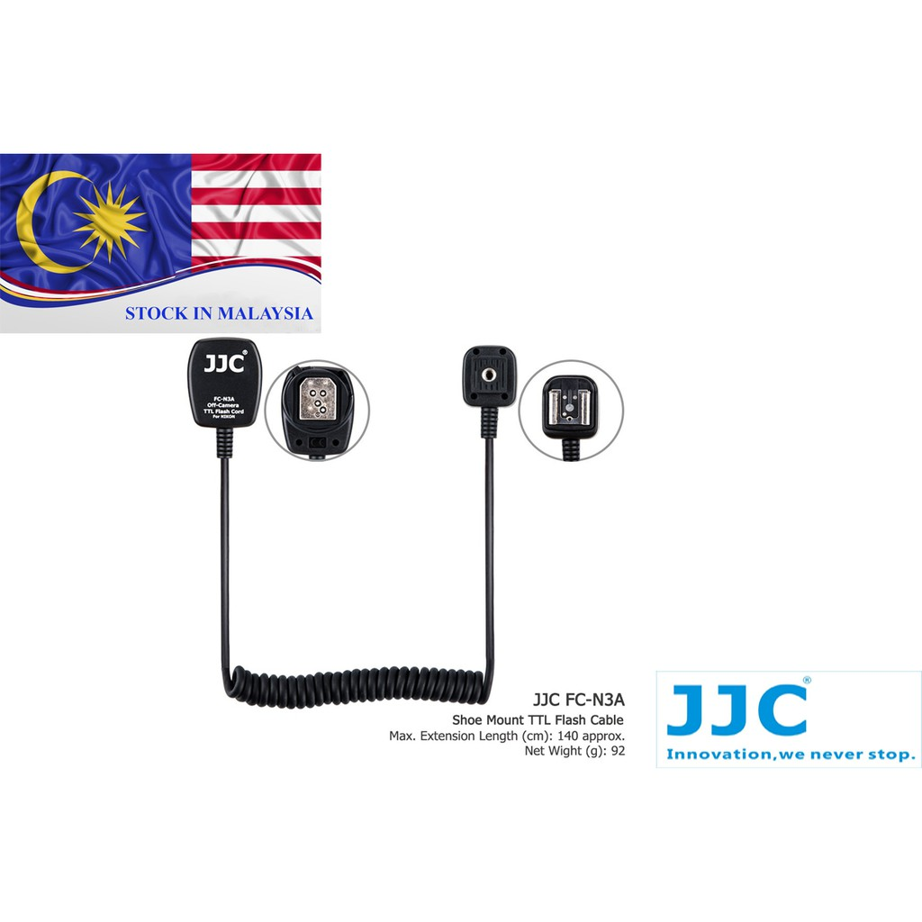JJC FC-N3A for NIKON Flash TTL Off Camera Shoe Cord Cable (Ready Stock In Malaysia)