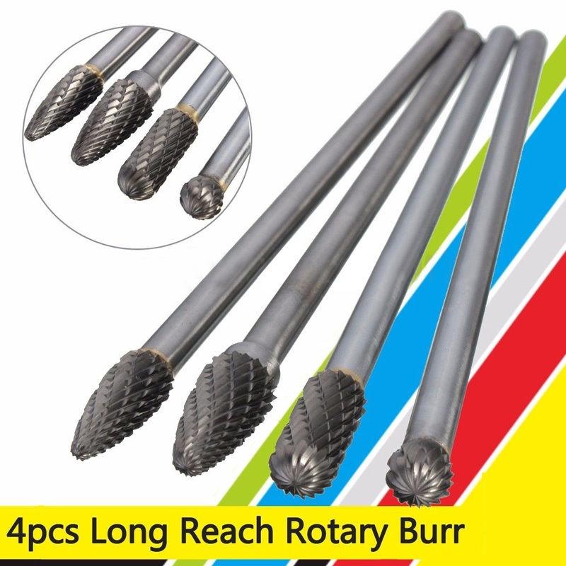 4Pcs Rotary Burr 1//4/'/' Shank 6/'/' inch Long Reach Double Cut Carbide DIY Tool Kit