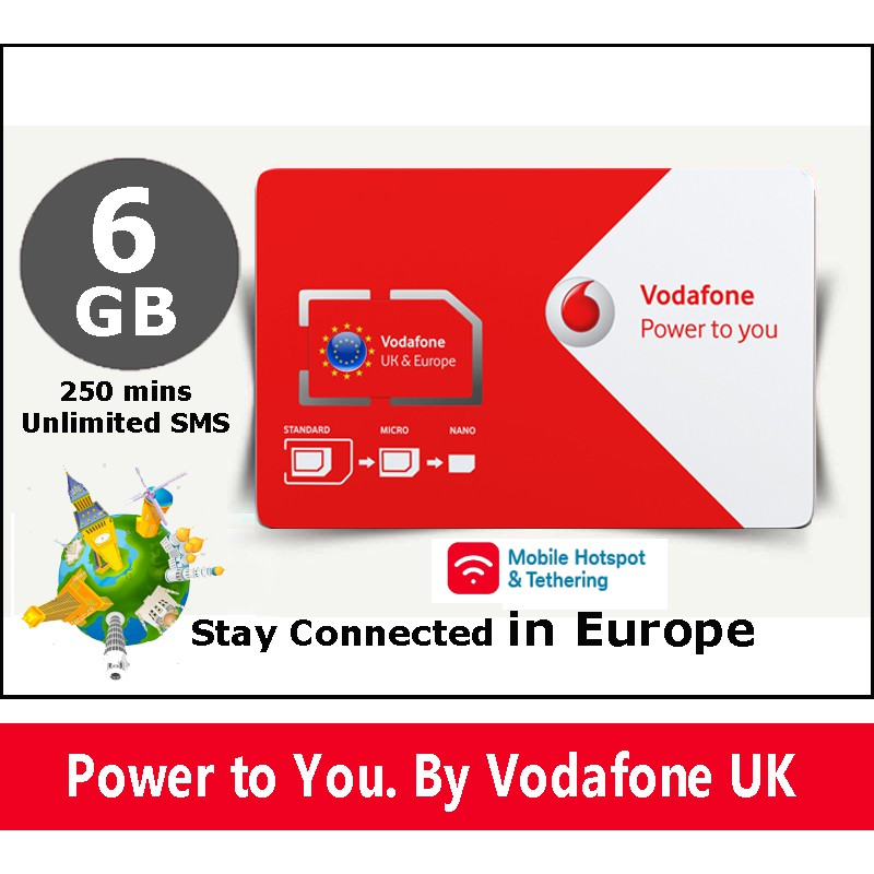 Europe Travel Sm Card 3GB+3GB Data (3G/4G) Call+SMS For 30 Days by Vodafone  UK