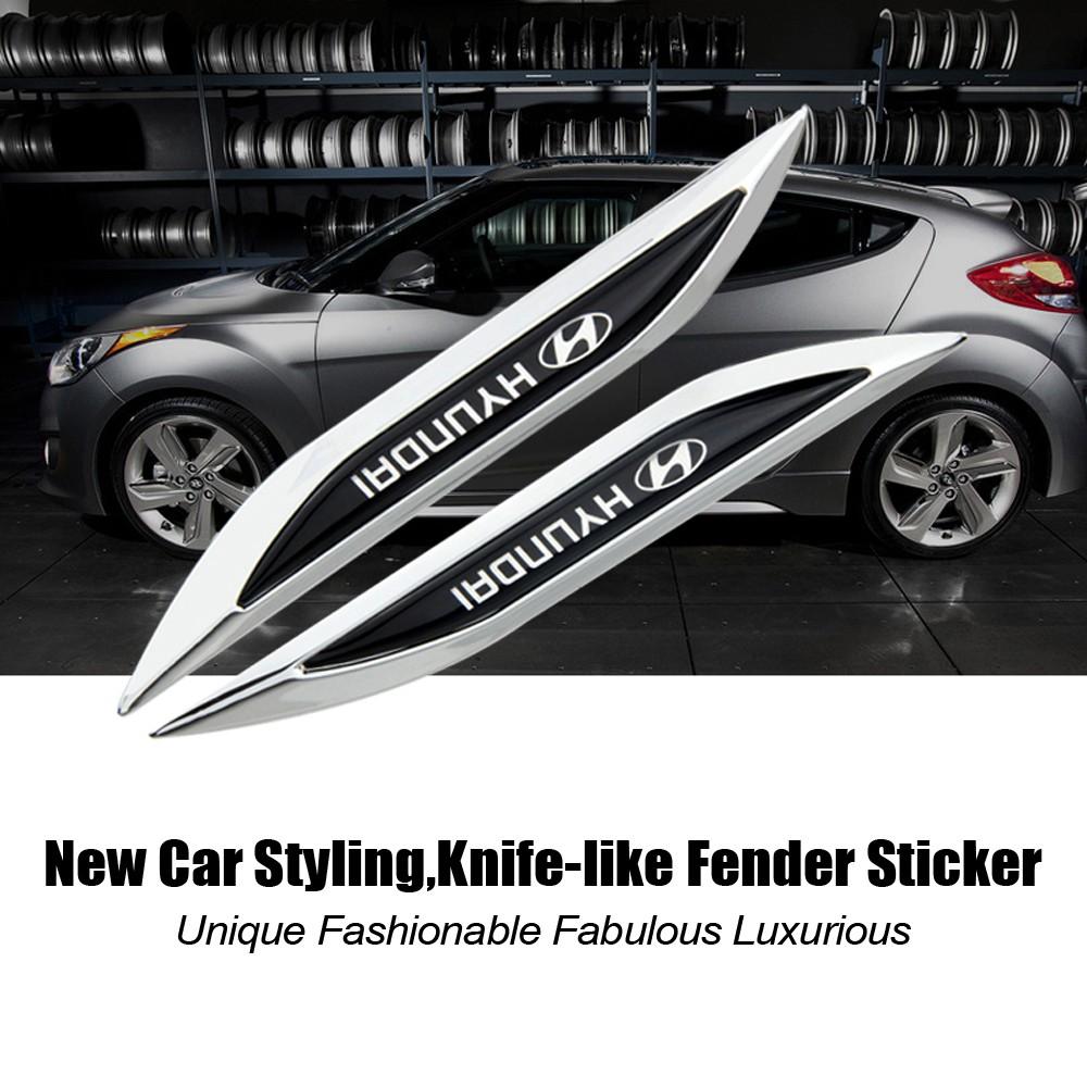 Knife-like Fender Car Sticker HYUNDAI Logo For Hyundai matrix elantra getz  atos