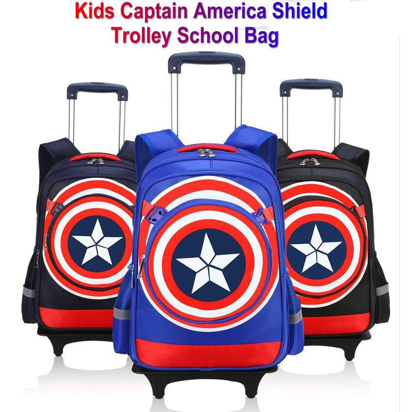 Kids Trolley School Bag Captain America Shield Backpack Boys Schoolbag 6  Wheels   Shopee Malaysia a806e89838