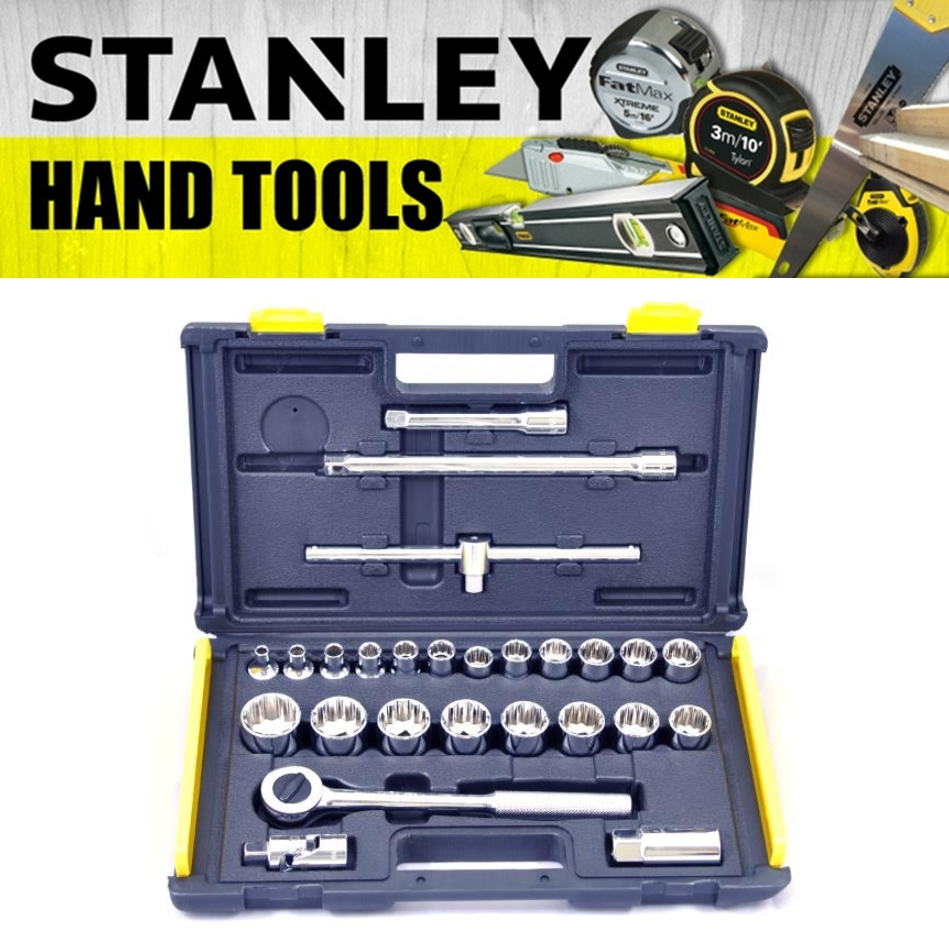 STANLEY 26 PIECE 1/2 DRIVE SOCKET SET 12POINT SOCKET 10 -32MM 86-477-23 MECHANIC TOOLS