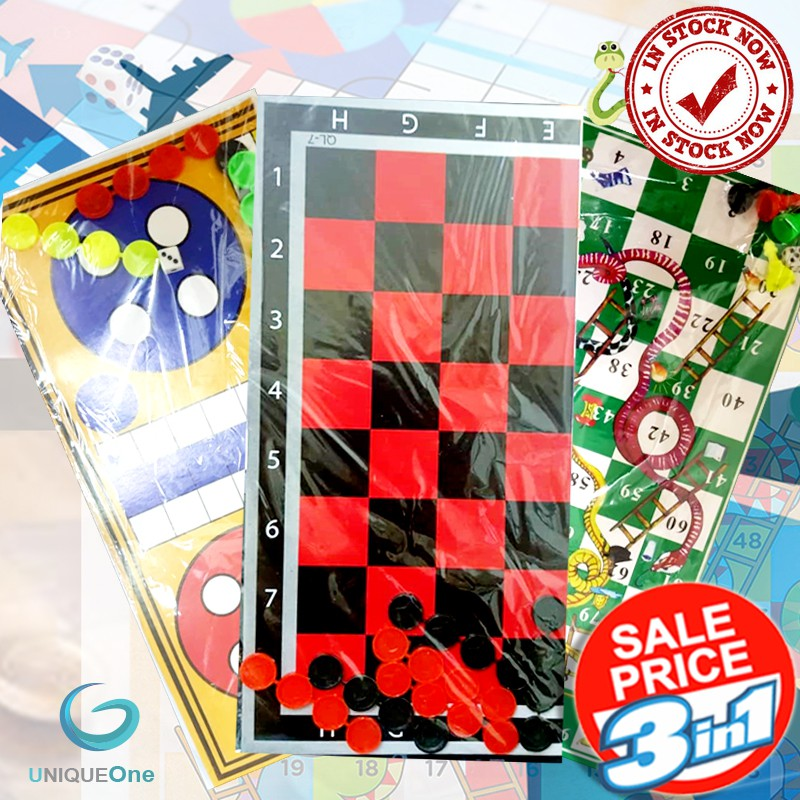 Travel Ludo ,Draught Riddle ,Snake And Ladder  Travel Family Kids  3 in 1 per package brains Games(Ready Stock)