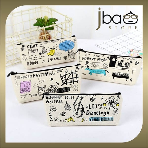 Graffiti Fabric Pencil Case Stationery Storage Bag