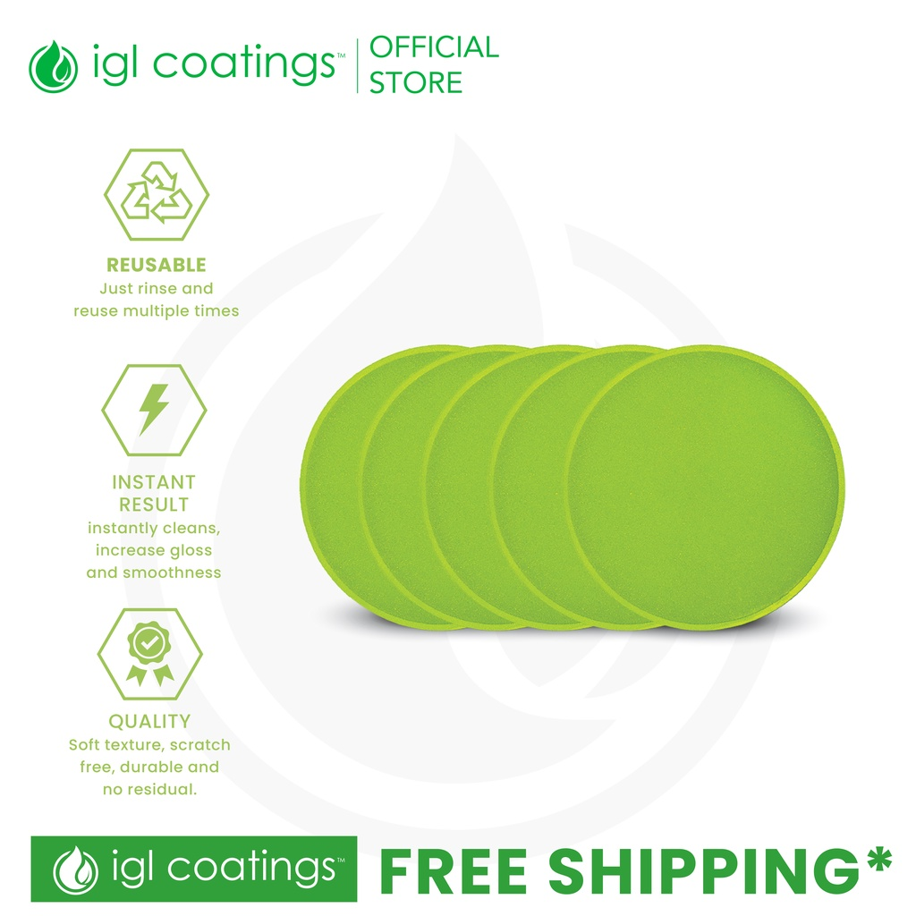 IGL Coatings Application Green Sponge Buffing Pad 5 pieces