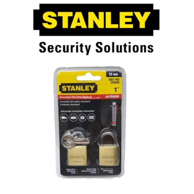 STANLEY STANDARD SHACKLE KEY ALIKE BRASS PADLOCK S827-403 25MM BRASS SECURITY LOCK