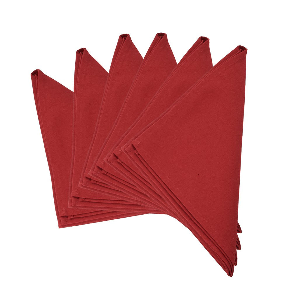 Plain UK Red Thick Spun Polyester Dinner Cloth Table Napkins/Fabric Serviette Napkins 51x51cm. Pack of 2,4 or 6 (Red)