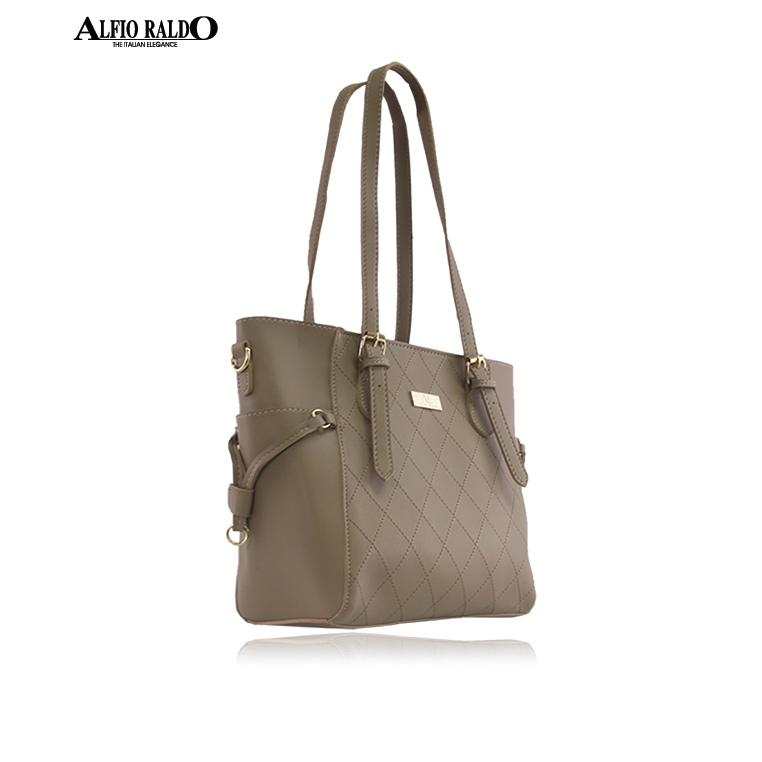 AR by Alfio Raldo Khaki Lattice Diamond Shape Quilted Shoulder Bag with Adjustable Handle Strap
