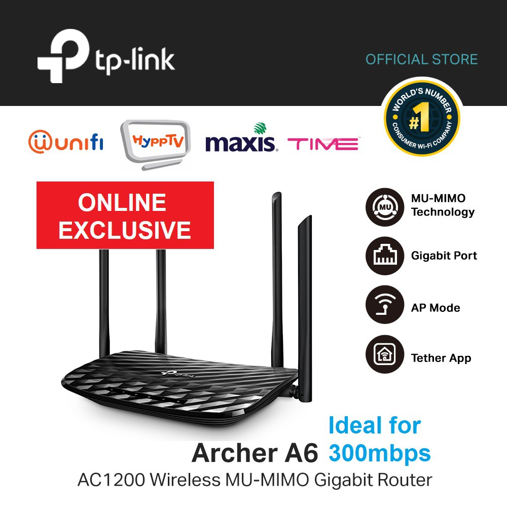 TP- Link Wireless Mu- Mimo Gigabit Router Archer A6 AC1200