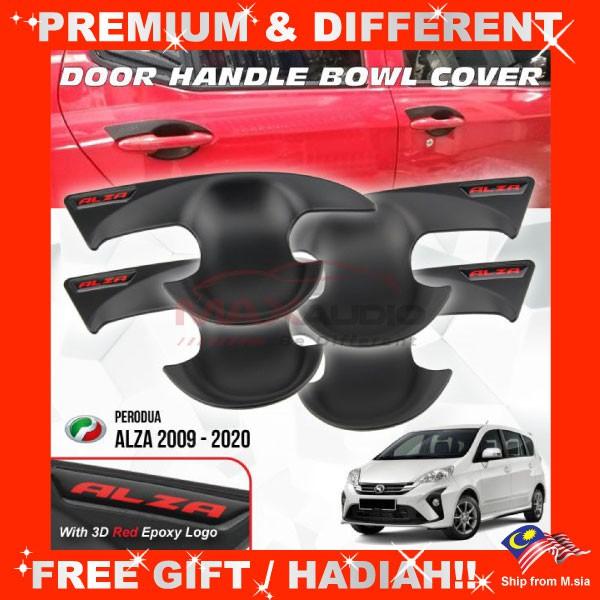 [FREE Gift] PERODUA ALZA 2009 - 2020 Matt Black Door Handle Inner Bowl Protector Cover Trim (4pcs/Set)