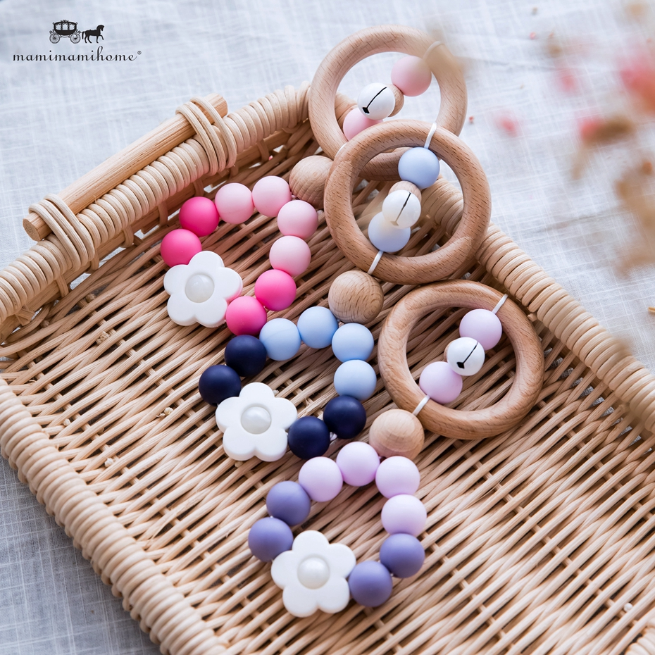 【Ready Stock】1pc Teether Silicone Bell Ear Rattle Baby Toys Baby Rattles Crib Mobiles Bpa Free Baby Toys