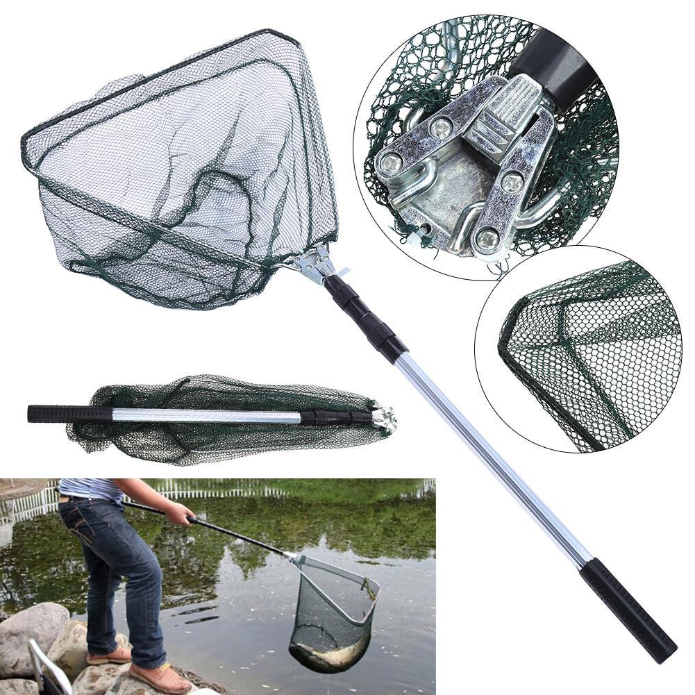 Details about  /Folding Extending Fishing Net Landing Net Pole Handle 3-Section Telescopic Mesh