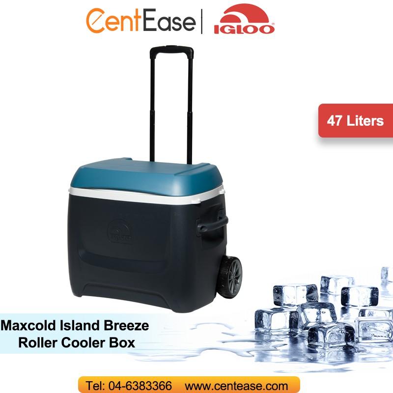 fd669613849 IGLOO 50 QT (47L) Maxcold Island Breeze Roller Cooler Box- Black ...