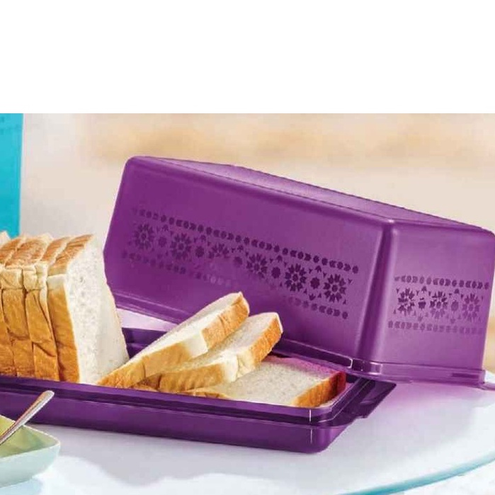 Tupperware mosaic Bread Server (bekas roti) (Food Container with cover)/ green/purple