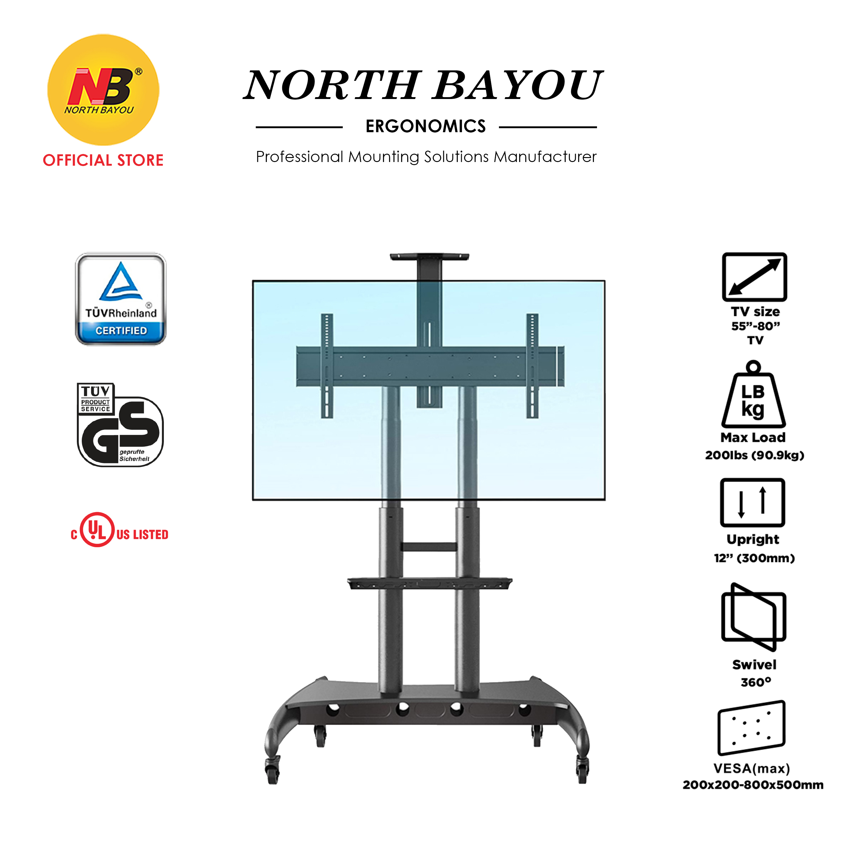 NB North Bayou 55 to 80 Inch AVA1800-70-1P Large Huge Portable Moving TV Troley Trolley AVA1800 Stand Mount Bracket