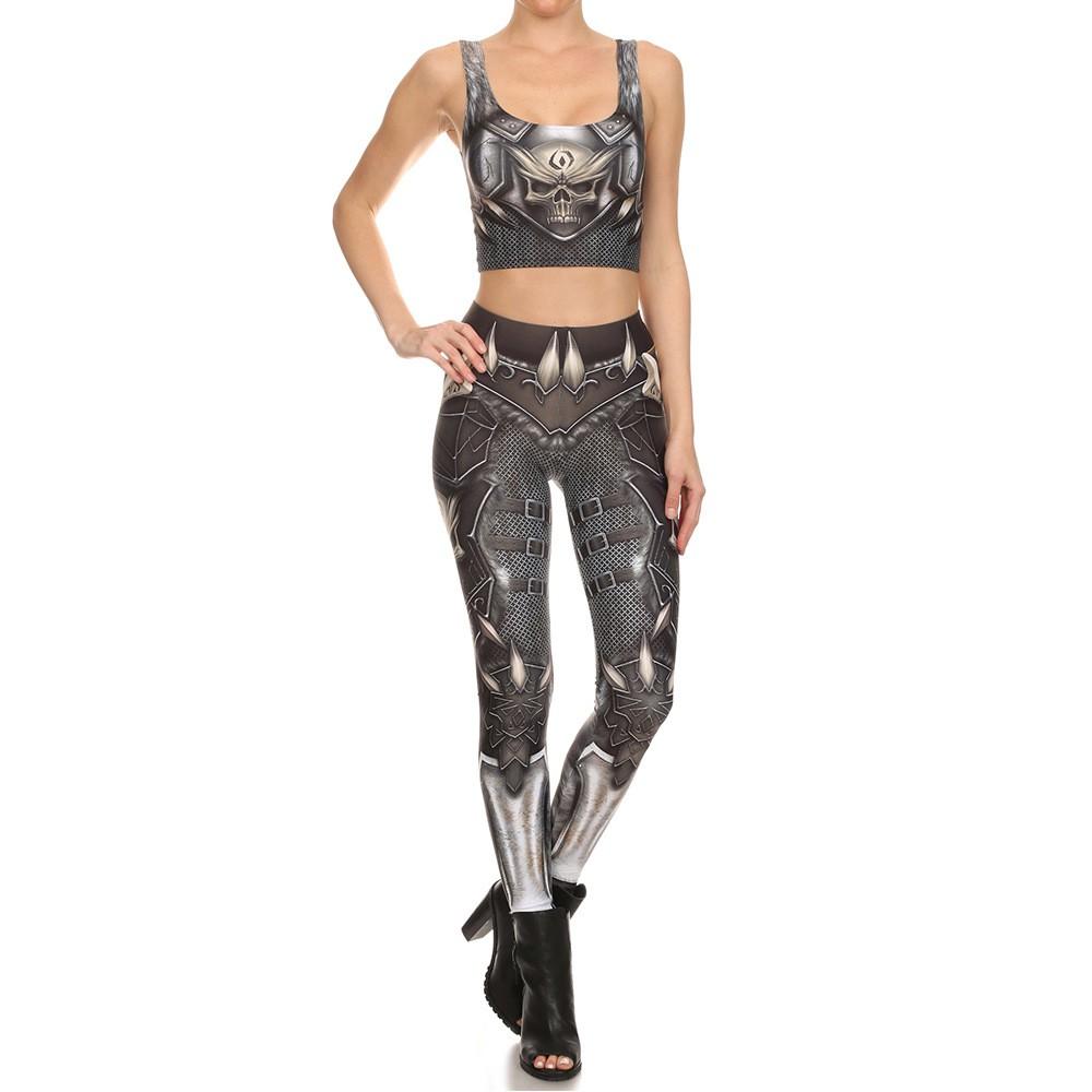 Hot Sale Woman Deadpool Robot Armor Printed Legging Set Bra Crop Top Set S-XL