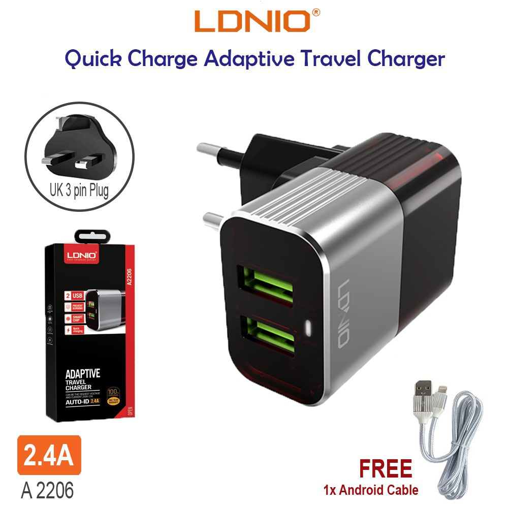 LDNIO A2206 2.4A Quick Charging 2 USB Port Wall Adaptive Travel Charger with 3 Pin UK Plug *Free Micro USB Cable*