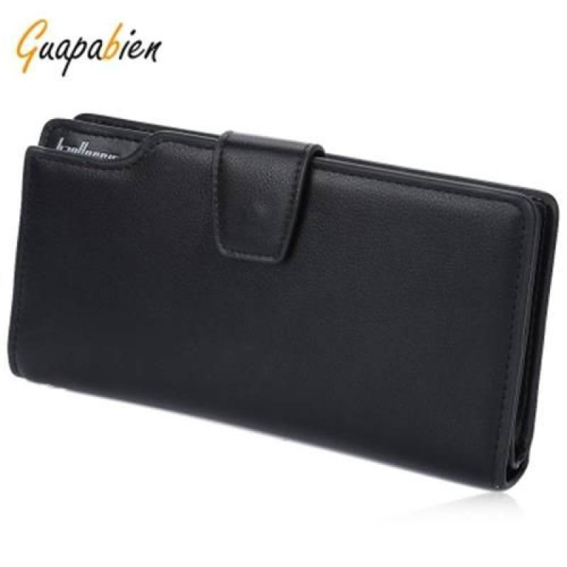 GUAPABIEN HASP ZIPPER MULTI FUNCTIONAL CARD MONEY PHOTO VERTICAL WALLET FOR MEN (BLACK)
