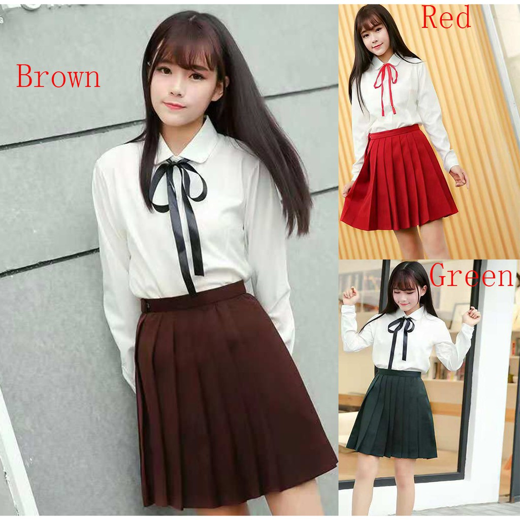 5dff1301f Academy School Uniform Cosplay Costume Knitted Tops Skirt Set | Shopee  Malaysia