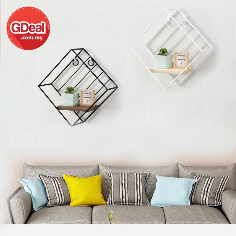 GDeal Multifunction European Style Wall Hanging Shelf Rhombus Brushed Oak Shelf Wall Decoration Save Space Rack Rak رق