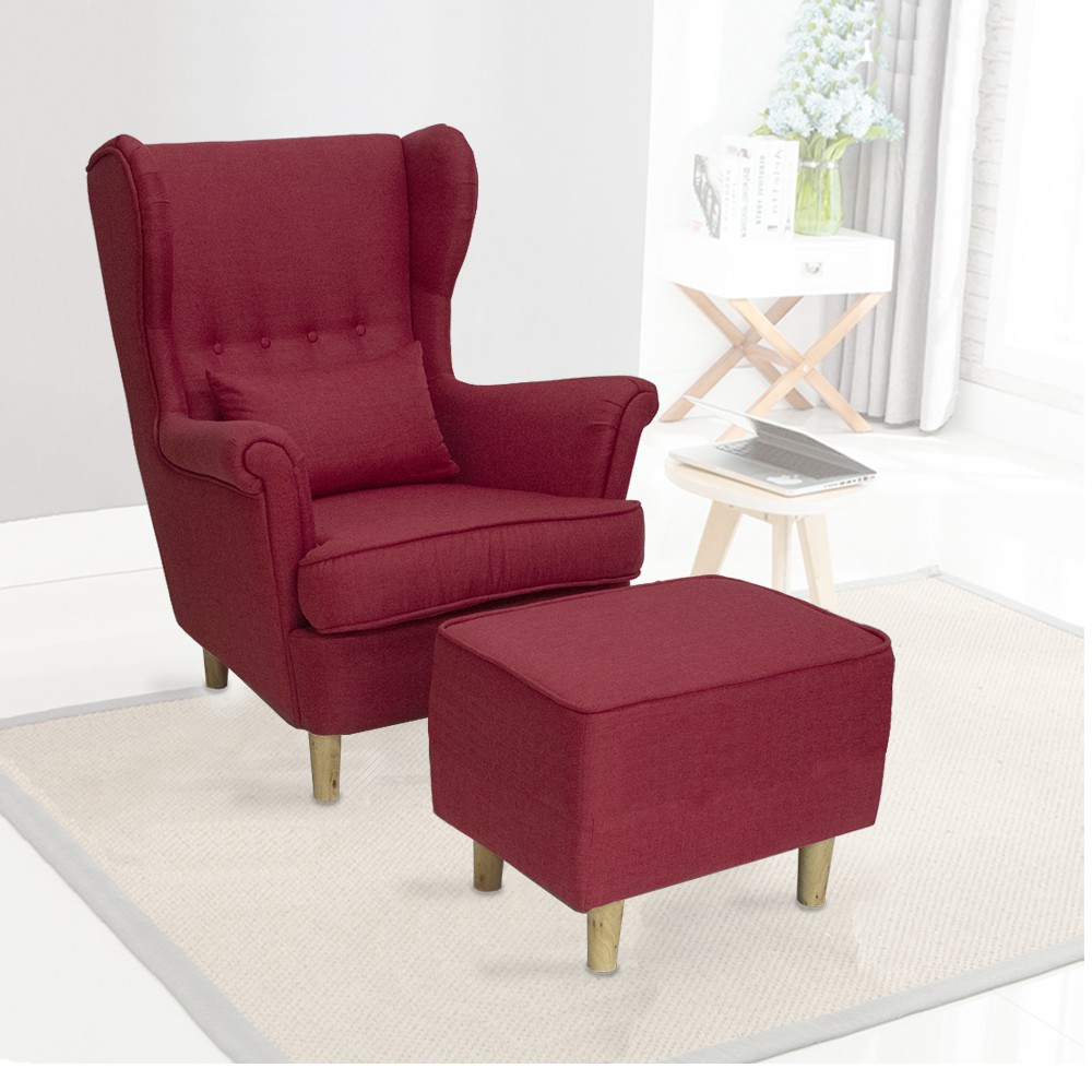 Rayleigh Canvas Fabric High Back Wing Sofa Chair With Free Leg Stools