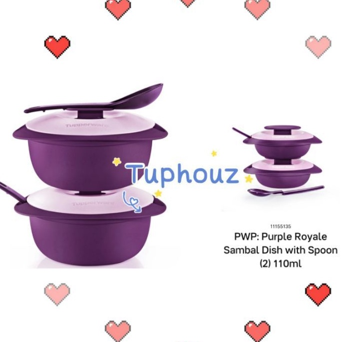 READY STOCK Tupperware (1Set = 2pcs with 2 Spoon or 1set2pcs +PWP2pcs)1.6L Purple Royale Round Server with Serving Spoon