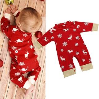 Christmas Jumpsuit Pajamas.Newborn Baby Girls Boys Christmas Deer Printing Romper Jumpsuit Pajamas Outfits